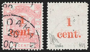 Sale Number 1220, Lot Number 101, Malta thru St. HelenaNORTH BORNEO, 1892, 1c on 4c Rose, Surcharged on Face & Back (56b; SG 63b), NORTH BORNEO, 1892, 1c on 4c Rose, Surcharged on Face & Back (56b; SG 63b)