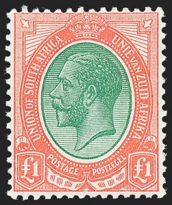 Sale Number 1220, Lot Number 115, St. Lucia thru South West AfricaSOUTH AFRICA, 1916, £1 Red & Deep Green (16; SG 17), SOUTH AFRICA, 1916, £1 Red & Deep Green (16; SG 17)