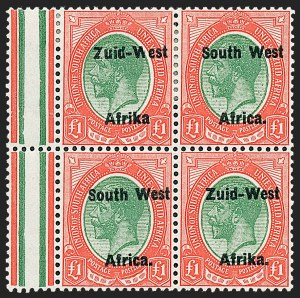 "Sale Number 1220, Lot Number 117, St. Lucia thru South West AfricaSOUTH WEST AFRICA, 1923, £1 Red & Green, Pair, Setting II, Without Period after ""Afrika"" (15c; SG 15a), SOUTH WEST AFRICA, 1923, £1 Red & Green, Pair, Setting II, Without Period after ""Afrika"" (15c; SG 15a)"