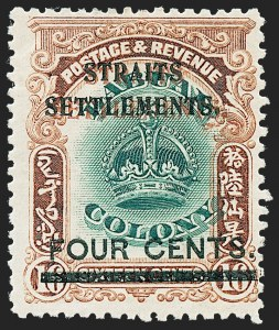 Sale Number 1220, Lot Number 119, Straits Settlements thru Turks IslandsSTRAITS SETTLEMENTS, 1907, 4c on 16c Orange Brown & Green, Double Overprint, One in Red (138a; SG 145a), STRAITS SETTLEMENTS, 1907, 4c on 16c Orange Brown & Green, Double Overprint, One in Red (138a; SG 145a)