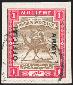 "Sale Number 1220, Lot Number 120, Straits Settlements thru Turks IslandsSUDAN, 1905, 1m Brown & Carmine, Army Official, ""Army"" Reading Down, ""!"" for ""I"" (SG A3a), SUDAN, 1905, 1m Brown & Carmine, Army Official, ""Army"" Reading Down, ""!"" for ""I"" (SG A3a)"