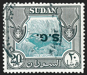 Sale Number 1220, Lot Number 122, Straits Settlements thru Turks IslandsSUDAN, 1951, 20p Black & Blue Green, Official, Overprint Inverted (O59a; SG O82a), SUDAN, 1951, 20p Black & Blue Green, Official, Overprint Inverted (O59a; SG O82a)