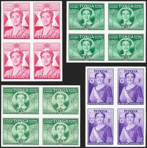 Sale Number 1220, Lot Number 123, Straits Settlements thru Turks IslandsTONGA, 1950, 1p-1sh Queen Salote 50th Birthday, Imperforate Proofs (91P-93P; SG 92-94), TONGA, 1950, 1p-1sh Queen Salote 50th Birthday, Imperforate Proofs (91P-93P; SG 92-94)