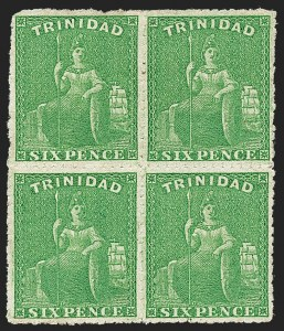 Sale Number 1220, Lot Number 124, Straits Settlements thru Turks IslandsTRINIDAD, 1861, 6p Green, Rough Perf 14 to 16-1/2 (36; SG 56), TRINIDAD, 1861, 6p Green, Rough Perf 14 to 16-1/2 (36; SG 56)