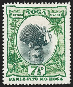 Sale Number 1220, Lot Number 130, Straits Settlements thru Turks IslandsTONGA, 1897, 7-1/2p Green & Black, Inverted Center (47a; SG 48a), TONGA, 1897, 7-1/2p Green & Black, Inverted Center (47a; SG 48a)