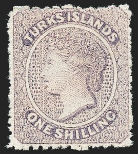Sale Number 1220, Lot Number 131, Straits Settlements thru Turks IslandsTURKS ISLANDS, 1873, 1sh Violet (6; SG 6), TURKS ISLANDS, 1873, 1sh Violet (6; SG 6)