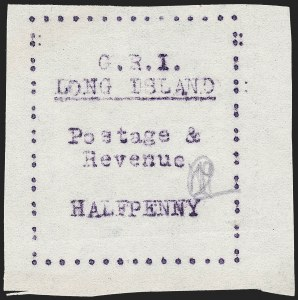 Sale Number 1220, Lot Number 197, Long Island - Thin Wove Paper Issue (SG 23-36)LONG ISLAND, 1916, -1/2p Mauve on Thin Wove Paper, Ten Frame Colons at Sides (SG 25 var), LONG ISLAND, 1916, -1/2p Mauve on Thin Wove Paper, Ten Frame Colons at Sides (SG 25 var)
