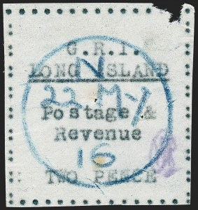 Sale Number 1220, Lot Number 202, Long Island - Thin Wove Paper Issue (SG 23-36)LONG ISLAND, 1916, 2p Black on Thin Wove Paper (SG 30), LONG ISLAND, 1916, 2p Black on Thin Wove Paper (SG 30)