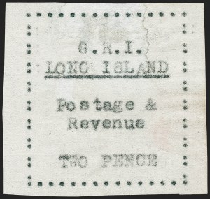 Sale Number 1220, Lot Number 204, Long Island - Thin Wove Paper Issue (SG 23-36)LONG ISLAND, 1916, 2p Black on Thin Wove Paper, Initialed in Red Ink (SG 30c), LONG ISLAND, 1916, 2p Black on Thin Wove Paper, Initialed in Red Ink (SG 30c)