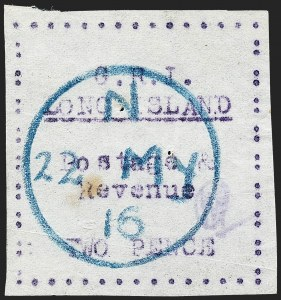 Sale Number 1220, Lot Number 207, Long Island - Thin Wove Paper Issue (SG 23-36)LONG ISLAND, 1916, 2p Mauve on Thin Wove Paper (SG 31), LONG ISLAND, 1916, 2p Mauve on Thin Wove Paper (SG 31)