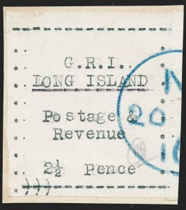 Sale Number 1220, Lot Number 209, Long Island - Thin Wove Paper Issue (SG 23-36)LONG ISLAND, 1916, 2-1/2p Black on Thin Wove Paper (SG 32), LONG ISLAND, 1916, 2-1/2p Black on Thin Wove Paper (SG 32)
