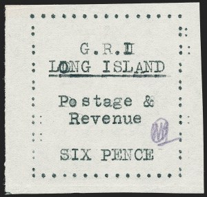 Sale Number 1220, Lot Number 214, Long Island - Thin Wove Paper Issue (SG 23-36)LONG ISLAND, 1916, 6p Black on Thin Wove Paper (SG 35), LONG ISLAND, 1916, 6p Black on Thin Wove Paper (SG 35)