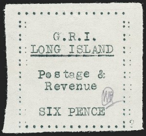 Sale Number 1220, Lot Number 215, Long Island - Thin Wove Paper Issue (SG 23-36)LONG ISLAND, 1916, 6p Black on Thin Wove Paper (SG 35), LONG ISLAND, 1916, 6p Black on Thin Wove Paper (SG 35)