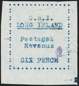Sale Number 1220, Lot Number 222, Long Island - Thin Wove Paper Issue (SG 23-36)LONG ISLAND, 1916, 6p Blue on Thin Wove Paper (SG 36), LONG ISLAND, 1916, 6p Blue on Thin Wove Paper (SG 36)