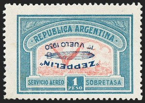 Sale Number 1220, Lot Number 225, Aegean Islands thru BrazilARGENTINA, 1930, 50c and 1p Zeppelins, Inverted Overprints (C21a, C22a), ARGENTINA, 1930, 50c and 1p Zeppelins, Inverted Overprints (C21a, C22a)