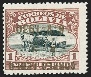 Sale Number 1220, Lot Number 233, Aegean Islands thru BrazilBOLIVIA, 1930, 5c on 10c to 1b with Bronze Ink, Inverted Overprints (C19a-C23a), BOLIVIA, 1930, 5c on 10c to 1b with Bronze Ink, Inverted Overprints (C19a-C23a)