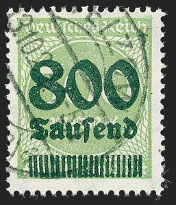 Sale Number 1220, Lot Number 296, Germany and OfficesGERMANY, 1923, 800th on 500m Light Green (267; Michel 307), GERMANY, 1923, 800th on 500m Light Green (267; Michel 307)