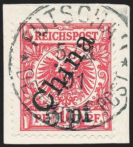 Sale Number 1220, Lot Number 302, Germany and OfficesGERMANY, Offices in China, 1900, 5pf on 10pf Carmine, 56 Degree Overprint (16; Michel 7II), GERMANY, Offices in China, 1900, 5pf on 10pf Carmine, 56 Degree Overprint (16; Michel 7II)