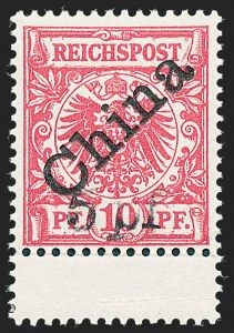 Sale Number 1220, Lot Number 303, Germany and OfficesGERMANY, Offices in China, 1900, 5pf on 10pf Carmine, 45 Degree Overprint (16a; Michel 7IB), GERMANY, Offices in China, 1900, 5pf on 10pf Carmine, 45 Degree Overprint (16a; Michel 7IB)