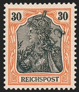 Sale Number 1220, Lot Number 305, Germany and OfficesGERMANY, Offices in China, 1900, 30pf Orange & Black on Salmon, Tientsin Handstamp (21; Michel 12), GERMANY, Offices in China, 1900, 30pf Orange & Black on Salmon, Tientsin Handstamp (21; Michel 12)