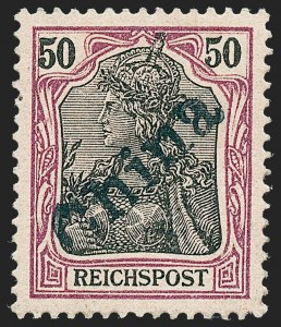 Sale Number 1220, Lot Number 306, Germany and OfficesGERMANY, Offices in China, 1900, 50pf Purple & Black on Salmon, Tientsin Handstamp (22; Michel 13), GERMANY, Offices in China, 1900, 50pf Purple & Black on Salmon, Tientsin Handstamp (22; Michel 13)