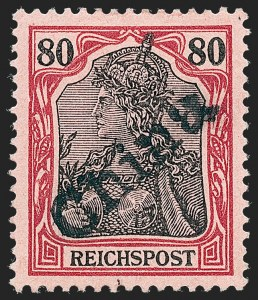 Sale Number 1220, Lot Number 307, Germany and OfficesGERMANY, Offices in China, 1900, 80pf Lake & Black on Rose, Tientsin Handstamp (23; Michel 14), GERMANY, Offices in China, 1900, 80pf Lake & Black on Rose, Tientsin Handstamp (23; Michel 14)