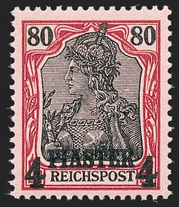 Sale Number 1220, Lot Number 311, Germany and OfficesGERMANY, Offices in Turkish Empire, 1902, 1-1/4pi on 25pf to 4pi on 80pf Unissued Overprints (Michel I-V), GERMANY, Offices in Turkish Empire, 1902, 1-1/4pi on 25pf to 4pi on 80pf Unissued Overprints (Michel I-V)