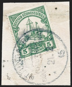 Sale Number 1220, Lot Number 316, German Area and Colonies thru HungaryGERMAN SOUTH WEST AFRICA, 1906, 5pf Green (27; Michel 25), GERMAN SOUTH WEST AFRICA, 1906, 5pf Green (27; Michel 25)