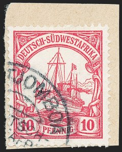 Sale Number 1220, Lot Number 317, German Area and Colonies thru HungaryGERMAN SOUTH WEST AFRICA, 1906, 10pf Light Rose (28; Michel 26), GERMAN SOUTH WEST AFRICA, 1906, 10pf Light Rose (28; Michel 26)