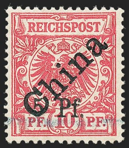 "Sale Number 1220, Lot Number 318, German Area and Colonies thru HungaryKIAUCHAU, 1900, 5pf on 10pf Carmine Rose, Type ""d"" (4; Michel 2, Type 1), KIAUCHAU, 1900, 5pf on 10pf Carmine Rose, Type ""d"" (4; Michel 2, Type 1)"