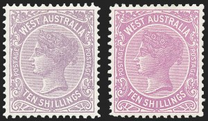 Sale Number 1220, Lot Number 32, Western Australia (Australian States) thru BermudaWESTERN AUSTRALIA, 1902-05, 10sh Violet and Bright Purple (87-87a; SG 127-127a), WESTERN AUSTRALIA, 1902-05, 10sh Violet and Bright Purple (87-87a; SG 127-127a)