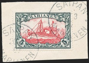 Sale Number 1220, Lot Number 321, German Area and Colonies thru HungaryMARIANA ISLANDS, 1901, 5m Slate and Carmine (29; Michel 19), MARIANA ISLANDS, 1901, 5m Slate and Carmine (29; Michel 19)
