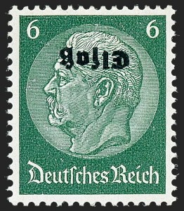 Sale Number 1220, Lot Number 327, German Area and Colonies thru HungaryGERMAN OCCUPATION OF ALSACE, 1940, 6pf Dark Green, Inverted Overprint (France N30a; Michel 4K), GERMAN OCCUPATION OF ALSACE, 1940, 6pf Dark Green, Inverted Overprint (France N30a; Michel 4K)