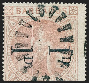 Sale Number 1220, Lot Number 36, Western Australia (Australian States) thru BermudaBARBADOS, 1878, 1p on Half of 5sh, Straight Serif, Unsevered Pair (58a; SG 87a), BARBADOS, 1878, 1p on Half of 5sh, Straight Serif, Unsevered Pair (58a; SG 87a)