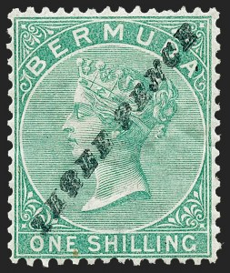 "Sale Number 1220, Lot Number 38, Western Australia (Australian States) thru BermudaBERMUDA, 1874, 3p on 1sh Green, ""P"" With Top Like ""R"" (12a; SG 13b), BERMUDA, 1874, 3p on 1sh Green, ""P"" With Top Like ""R"" (12a; SG 13b)"