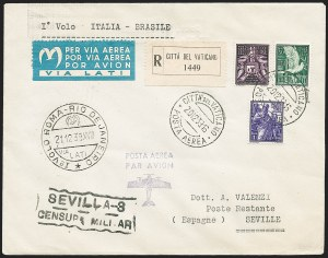 Sale Number 1220, Lot Number 400, Vatican City Flight and Zeppelin Covers  - from the Rev. Mullowney EstateVATICAN CITY, 1939, Dec. 21, Rome-Rio de Janiero Flight Cover, Rome-Seville Leg (Sassone 517d), VATICAN CITY, 1939, Dec. 21, Rome-Rio de Janiero Flight Cover, Rome-Seville Leg (Sassone 517d)