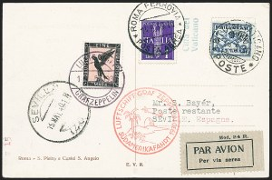 Sale Number 1220, Lot Number 402, Vatican City Flight and Zeppelin Covers  - from the Rev. Mullowney EstateVATICAN CITY, 1930, Pan-American Flight (Sieger 57I), VATICAN CITY, 1930, Pan-American Flight (Sieger 57I)