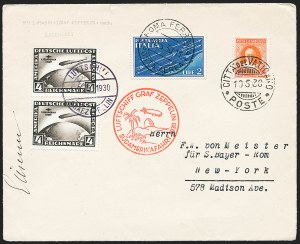 Sale Number 1220, Lot Number 403, Vatican City Flight and Zeppelin Covers  - from the Rev. Mullowney EstateVATICAN CITY, 1930, Pan-American Flight (Sieger 57N), VATICAN CITY, 1930, Pan-American Flight (Sieger 57N)