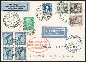 Sale Number 1220, Lot Number 405, Vatican City Flight and Zeppelin Covers  - from the Rev. Mullowney EstateVATICAN CITY, 1931, Nuremberg Flight (Sieger 107), VATICAN CITY, 1931, Nuremberg Flight (Sieger 107)