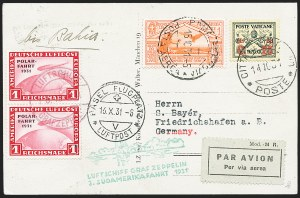 Sale Number 1220, Lot Number 406, Vatican City Flight and Zeppelin Covers  - from the Rev. Mullowney EstateVATICAN CITY, 1931, Third South American Flight (Sieger 133), VATICAN CITY, 1931, Third South American Flight (Sieger 133)