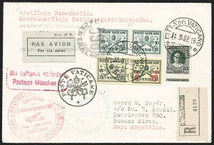 Sale Number 1220, Lot Number 407, Vatican City Flight and Zeppelin Covers  - from the Rev. Mullowney EstateVATICAN CITY, 1932, Second South America Flight (Sieger 143B), VATICAN CITY, 1932, Second South America Flight (Sieger 143B)
