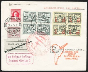 Sale Number 1220, Lot Number 409, Vatican City Flight and Zeppelin Covers  - from the Rev. Mullowney EstateVATICAN CITY, 1932, Fourth South America Flight (Sieger 157B), VATICAN CITY, 1932, Fourth South America Flight (Sieger 157B)