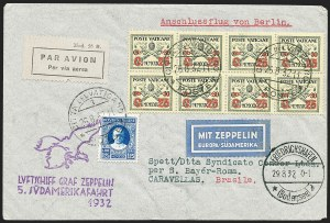 Sale Number 1220, Lot Number 410, Vatican City Flight and Zeppelin Covers  - from the Rev. Mullowney EstateVATICAN CITY, 1932, Fifth South America Flight (Sieger 171Aa), VATICAN CITY, 1932, Fifth South America Flight (Sieger 171Aa)