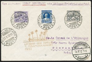 Sale Number 1220, Lot Number 413, Vatican City Flight and Zeppelin Covers  - from the Rev. Mullowney EstateVATICAN CITY, 1932, Seventh South American Flight (Sieger 183Aa), VATICAN CITY, 1932, Seventh South American Flight (Sieger 183Aa)