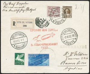 Sale Number 1220, Lot Number 414, Vatican City Flight and Zeppelin Covers  - from the Rev. Mullowney EstateVATICAN CITY, 1932, Eighth South American Flight (Sieger 189Aa), VATICAN CITY, 1932, Eighth South American Flight (Sieger 189Aa)