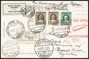 Sale Number 1220, Lot Number 415, Vatican City Flight and Zeppelin Covers  - from the Rev. Mullowney EstateVATICAN CITY, 1932, Eighth South American Flight (Sieger 189Aa), VATICAN CITY, 1932, Eighth South American Flight (Sieger 189Aa)