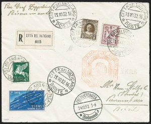 Sale Number 1220, Lot Number 416, Vatican City Flight and Zeppelin Covers  - from the Rev. Mullowney EstateVATICAN CITY, 1932, Ninth South American Flight (Sieger 195Aa), VATICAN CITY, 1932, Ninth South American Flight (Sieger 195Aa)