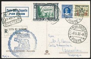 Sale Number 1220, Lot Number 418, Vatican City Flight and Zeppelin Covers  - from the Rev. Mullowney EstateVATICAN CITY, 1933, Italian Flight (Sieger 208Va), VATICAN CITY, 1933, Italian Flight (Sieger 208Va)