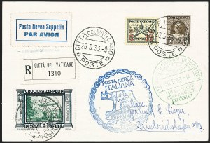 Sale Number 1220, Lot Number 419, Vatican City Flight and Zeppelin Covers  - from the Rev. Mullowney EstateVATICAN CITY, 1933, Italian Flight (Sieger 208Va), VATICAN CITY, 1933, Italian Flight (Sieger 208Va)