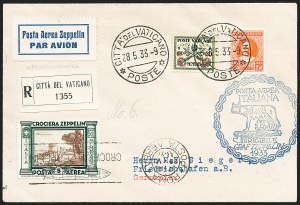 Sale Number 1220, Lot Number 421, Vatican City Flight and Zeppelin Covers  - from the Rev. Mullowney EstateVATICAN CITY, 1933, Italian Flight (Sieger 208Vi), VATICAN CITY, 1933, Italian Flight (Sieger 208Vi)